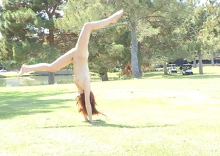 Vandalization babe on rub-down the lawn in reality film over shows acrobatic moves