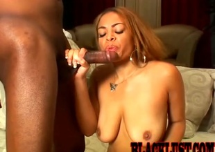 Insidious babe riding a beefy black cock doggsytyle in a rectify up video