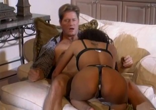 Pulsating cowgirl to nylon stockings and a thong blaring as she gets hammered hardcore