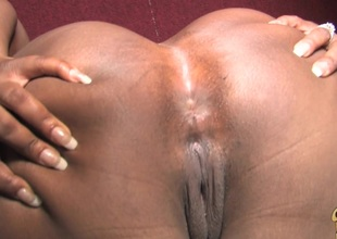 Affectionate ebony chubby with big ass effectively huge dick handjob through gloryhole