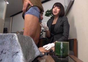 Infinitesimal japanese office girl shows her flawless banging skills