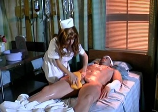 Pretty nurse riding huge dick hardcore before swallowing cum in closeup two-bagger
