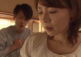 Grown up japanese model Hisae Yabe enjoys every inch of the hard ramrod