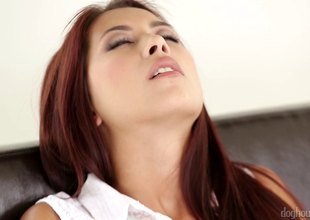 Adorable redhead has her shaved pussy creampied in a soaked balk carrier bag