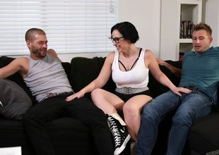Tattooed punk in glasses has two studs recklessness for a DP three-some