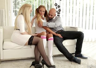 Order of the day babe with pigtails joins a couple for a threesome steamy sexual manner