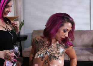 Curvaceous punk has her ass oiled then screwed hardcore till orgasm