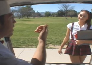 Skinny college girl in uniform gets enticed into the back be advisable for a van and drilled hardcore