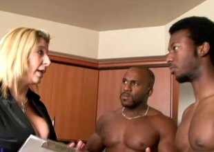 Dominate milf has her wet slit double teamed by 2 black studs hardcore