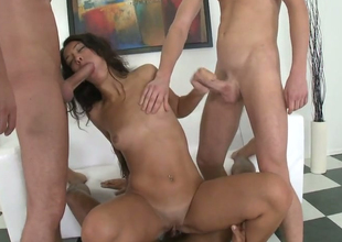 Sexy brunette hair bimbo Alex C acquires fucked apart from three hot dudes