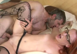 Flat chested hoe in glasses Dani Jensen pleases licentious guy Steven French