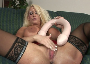 Wicked mommy relative to big butt Alura Jenson stuffs her snatch  relative to toys