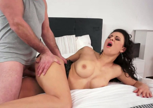 Hot as fire brunette bitch Billie Famousness fucked in doggystyle