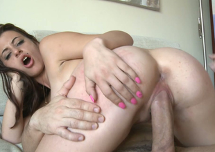 Delightful brunette bitch with great rack gets drilled constant on the couch
