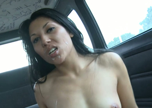 Alien unlighted bitch gets massive cumshot in a car