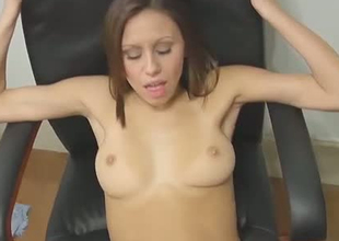 Cute brownhead chick with tight cum-hole hole is getting nailed parson style