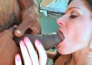 Hot brunette India receives to taste a huge darksome monster cock