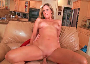 Astounding milf Jodi with big tits and venerable pussy gets fucked hard