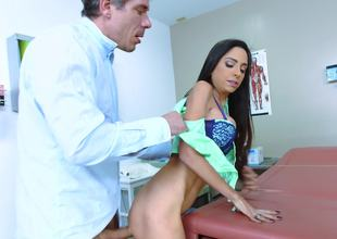 Gorgeous beauty feels more good having sex with her doctor