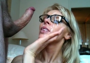 Hawt blonde angel facialized after riding my hard cock