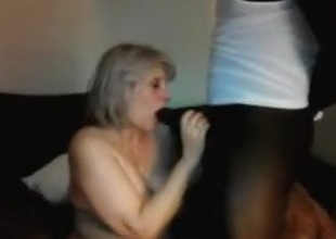 Aged slutwife sucks off BBC then spouse for double cum