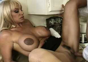 In eradicate affect kitchen, buxom blonde mom Kat Kleevage sucks and copulates a juvenile stud's big rod