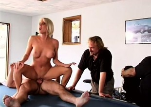 Husband likes to watch his busty blonde wife getting fucked hard by some other pauper