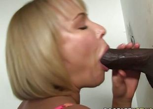 Glory hole blonde sucks black bushwa