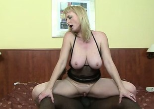 Busty blond milf Monik needs a massive black weasel words unfathomable in her anal crack