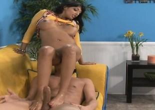 Exotic babe with pulchritudinous feet teases her lover's lucky member
