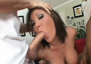 Curvy brunette Claire Dames blows yoke big shafts and gets cum all abstain from her face