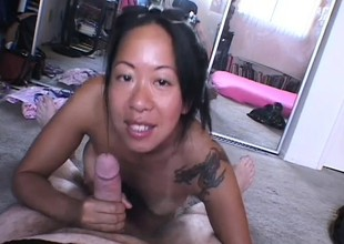 Mature Oriental woman receives down and ready to work on a POV film over