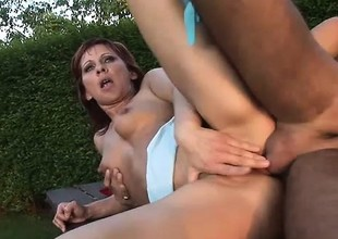 Luscious redhead mom Myra gets her pussy fucked hard on high a picnic table