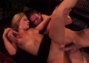 Freshly legal blonde tart with big tits has carnal fuck in library