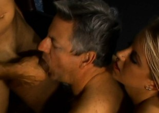 Two doyen ambisextrous dudes get it on with a gorgeous blond coddle