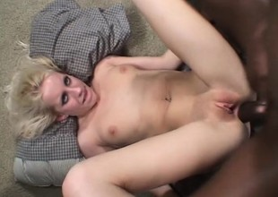 Nasty blonde Want Moore has a group of black studs roughly banging her holes
