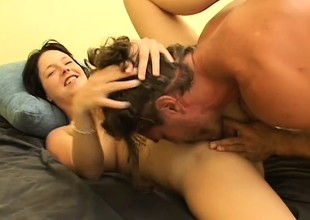 Prexy brunette is a squirter and gives buff before fucking to let loose her juices