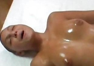 Hairless chick gets grease someone's palm massage and facial