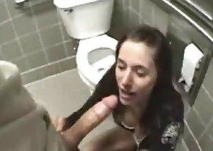 public sex in bathroom with girlfriend pov