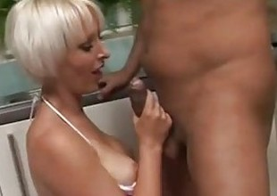 Geeky gamer blonde is fucked hard with regard to the kitchenette