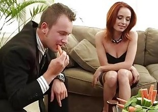 Chap-fallen redhead Ashlee Graham fucking on the couch