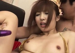 Kotone Aisaki gets shared apart from two chaps near threeosme porn