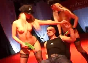Two blonde strippers on stage realize fucked apart from a large hard 10-Pounder