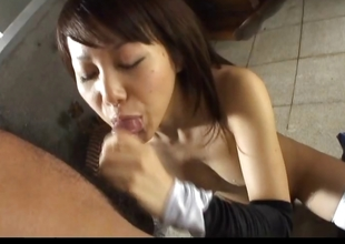 Busty Asian slattern gets dirty by slurping cum