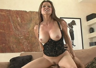 Hawt milf Raquel Devine wearing down slippery slot on massive vagina basher