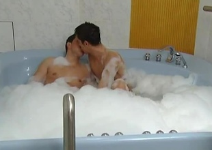 These 2 horny guys perceive soaking themselves in the hot tub, then perceive a little fun. These 2 perceive sucking off one possibility then taking turns fucking one possibility bareback. I'm sure the bath made their assholes nice plus loose for some hardcore anal acti