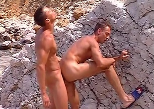 Delicious, near-hairless jocks Sylvio Panthera and Hans Brooks find a gravel pit, and interest the venue to get some of their own rocks off, in this 9 minute quickie.  Close by big rocks on twosome side and lap up on the other, their juvenile muscles work up a sweat a