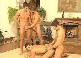 Four charming young jocks subjugate a ninety days a long while before finally giving him a good time in this sexy Twenty morsel scene.  The submissive boy does a rotation of blowjobs on eradicate affect other guys, then lets them fuck him in eradicate affect ass.  Masturbation in eradicate affect bac