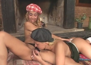 Four hot blondes get into some hot action together, going down essentially one another. They then pull out a dildo and animate to fuck evermore other with it until a hot jock comes along to join in. They get essentially their knees and suck his nice cock then they evermore take turns