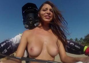 Curvy badass hotties try abroad wake boarding